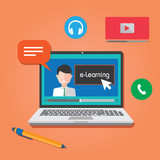 Fototapety e-Learning webinar online education concept
