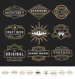 Set of retro badge logo for vintage product and business such as night club, whiskey, brewery, wine, craft beer, restaurant, handmade product. Vector illustration