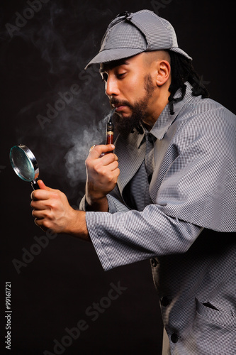 Poster Sherlock Holmes with pipe and magnifying glass