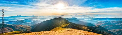 Fotobehang Blauw Mountain landscape at sunset
