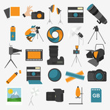 Fototapety Photography icon set with photo, camera equipment. Colour flat v