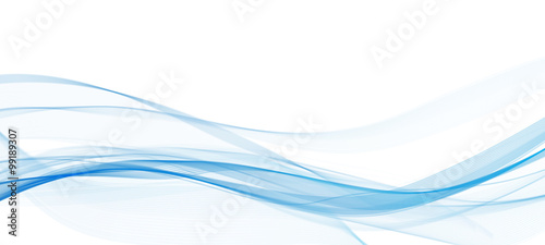 abstract blue line wave  whit background  - 99189307
