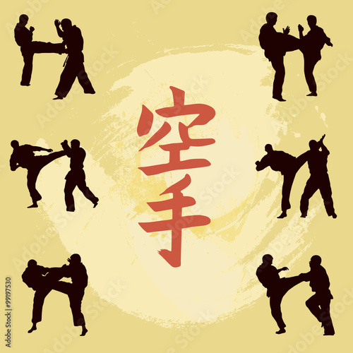 Fototapeta Hieroglyph of karate and men demonstrating karate.