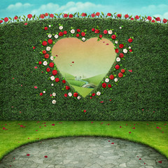 Green pastel background with window in shape of  heart.