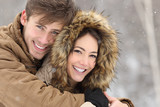 Fototapety Couple with perfect teeth in winter