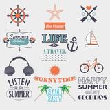set of vector vintage elements for summer holidays - 99212354