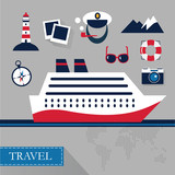 Tourism concept image sea vacation flat vector icons - 99212391