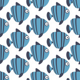 blue seamless sea vector pattern with fishes - 99212959