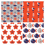 color set of four childish vector nautical seamless patterns - 99212978
