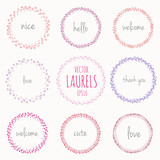 Collection of handdrawn laurels and round wreaths Romantic wreath with copyspace for your text Hand drawing sketchy wreath Save the date, wedding or invitation card design elements Nice pastel colors