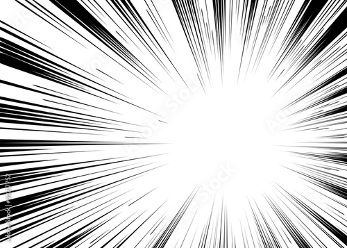 Comic book black and white radial lines background Rectangle fig - 99217752