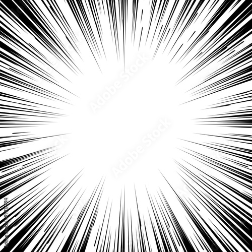 Comic book black and white radial lines background Square fight - 99217794