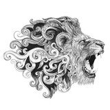 Tattoo head grinning lion - 99244363