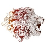 Tattoo head grinning lion - 99244927