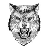 Tattoo head wolf grinning - 99246140