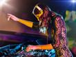 Постер, плакат: Beautiful DJ girl mixing electronic music