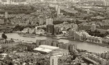Black and white aerial view of London landmarks