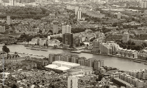 Black and white aerial view of London landmarks - 99248103