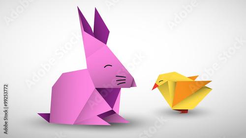 Fototapeta królik i pisklę origami wektor