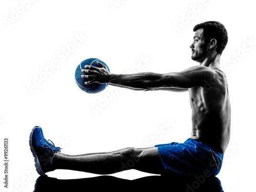 Fototapeta man exercising fitness weights silhouette