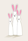 Simple Easter bunny characters family