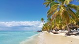 Saona island in Carribean sea, Dominican Republic. Beautiful beach with coconut palm trees. - 99292152