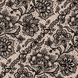 Abstract seamless lace pattern with flowers
