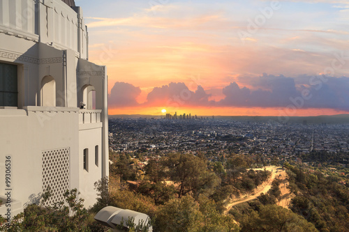 Los Angeles skyline sunset from the Griffith Observatory in Southern California, Poster