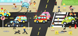Accidents, danger and safety on traffic road vehicles ars bicycle and careless people on urban street with sign and symbol in cute funny cartoon concept for kids (vector)