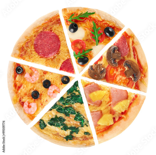 Pieces of pizza on a white background. Collection. - 99309776