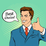 Fototapety Businessman gives thumb up in  retro comics style.  Successful man, Smile, finger agreement, best choice, vintage pop art  vector illustration