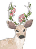 Cute hipster deer with flowers on his horns. - 99318747