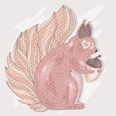 Cute pink squirrel holding acorn. Illustration for kids or child