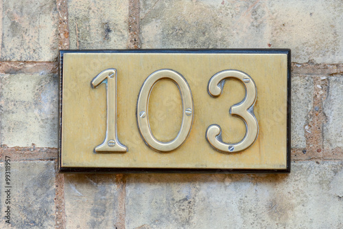 Poster House number 103 sign