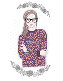 Young fashion girl illustration. Hipster girl with glasses and f - 99319183