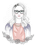 Young fashion girl illustration. Hipster girl with glasses and f - 99319198
