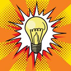 Light bulb lamp pop art style vector