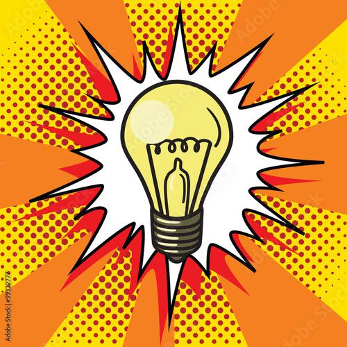 obraz lub plakat Light bulb lamp pop art style vector