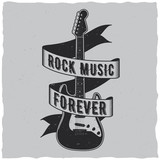 Fototapety Rock music forever label design for t-shirts, posters, logos, greeting cards etc.