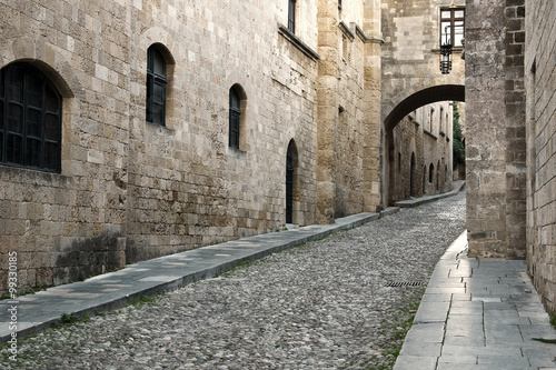 Rhodes old town is  oldest inhabited medieval town in Europe.  Street of the Knights is one of the best preserved and most delightful medieval relics in the world.  Rhodes  Island, Greece.