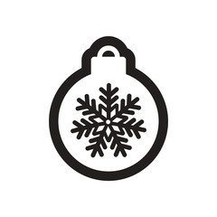 flat icon in black and white Christmas balls