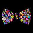 floral bow tie on dlack background