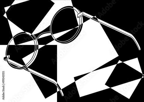 Fototapeta Lunettes de soleil rondes pop art en noir et blanc
