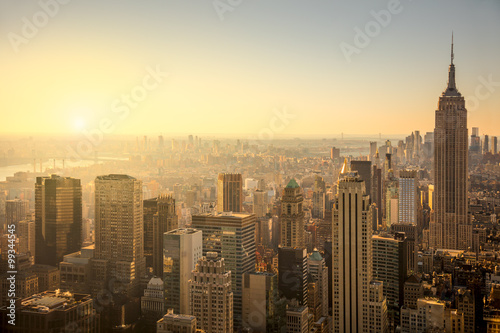 Poster New York City skyline with urban skyscrapers at gentle