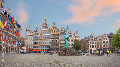 Foto op Canvas Antwerpen Cental square of Antwerp. City Hall