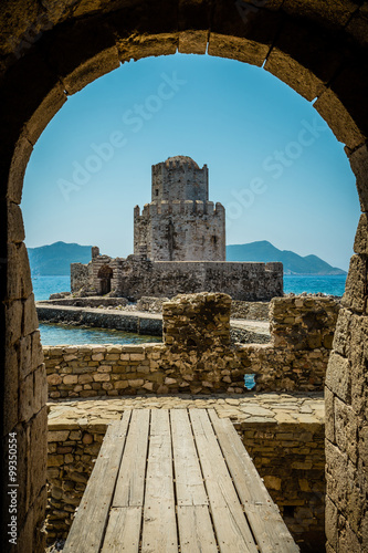 Naklejka The Bourtzi tower, Methoni, Peloponnese, Greece.