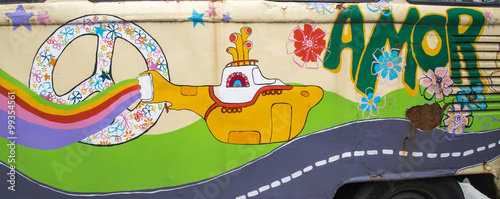 colorful hippy mural