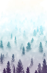 misty forest landscape