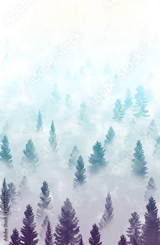 misty forest landscape - 99370320
