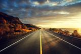 Fototapety road by the sea in sunrise time,  Lofoten island, Norway